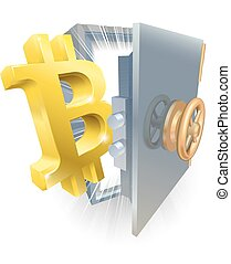 sicuro, bitcoin, illustrazione