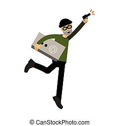 sicuro, carattere, ladro, illustrazione, fucile, correndo, vettore