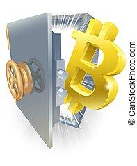 sicuro, concetto, bitcoin