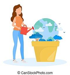 sicuro, donna, versa, concept., irrigazione, acqua, lattina, terra, earth.