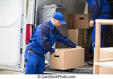sida se, av, a, man, bärande, kartong kasse