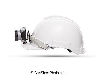 sida se, av, vit, gruvdrift, säkerhet hjälm, med, lätt,...