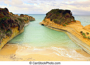 sidari, d'amour', plage, 'canal