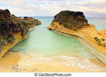 sidari, d'amour', praia, 'canal