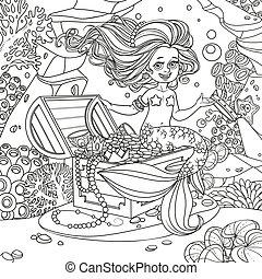 siddende, brystkassen, verden, cute, pige, skitseret, hånd, baggrund, havfrue, anemoner, underwater, beholde, skat, bekranse, koraller