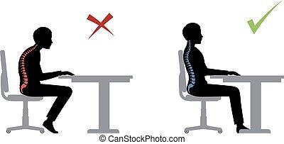 siddende, ergonomic., korrekt, positur, forkert
