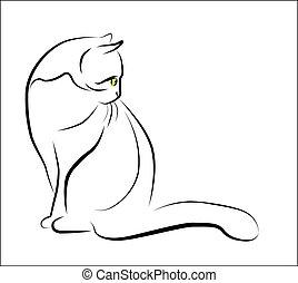 siddende, udkast, illustration, kat