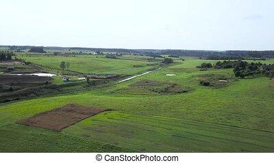 side., aérien, champs, forêts, enquête, pays, prés, interminable
