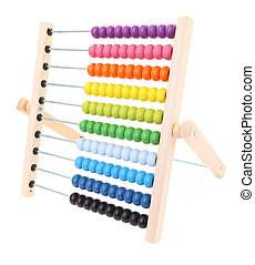 Side abacus for child learning on white background.