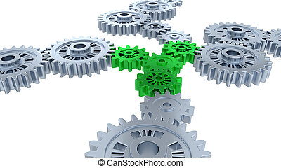 Side and Perspective View of Several Silver Gears and Four Green