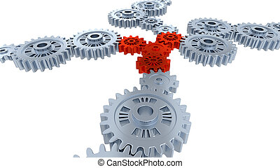 Side and Perspective View of Several Silver Gears and Four Red