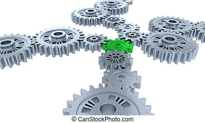 Side and Perspective View of Several Silver Gears and One Green