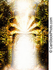 side., antico, luce, dimensionale, portale, ornamenti, cancello