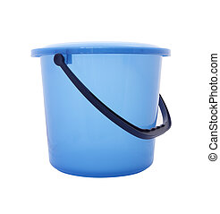 Side blue bucket with cover on white background.