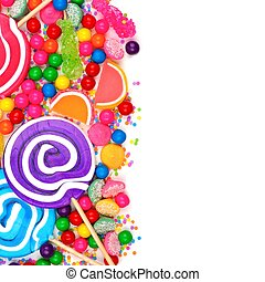 Side border of an assortment of colorful candies against a white background