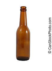 Side brown bottle on white background.