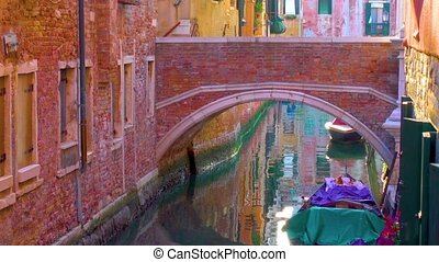 Side canal and bridge in Venice - Small side canal and...