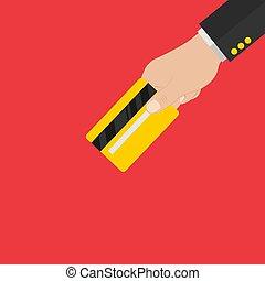 side., card., costas, mão cartão, segurando, crédito