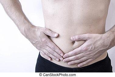 side., close-up, direita, dor, image., ataque, abdome, appendicitis.