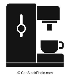 Side coffee machine icon, simple style