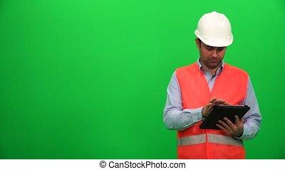 side., droit, tablette, screen., architecture, numérique, confection, présentation, ou, ingénieur