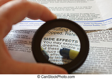 Side Effects - Magnified focal area over the warning ...