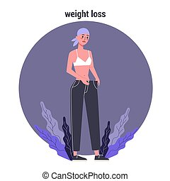 Side effects of chemotherapy. Patient suffer from cancer disease. Female loosing her weight. Vector illustration in cartoon style