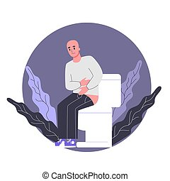 Side effects of chemotherapy. Patient suffer from cancer disease. Male character with diarrhea. Vector illustration in cartoon style