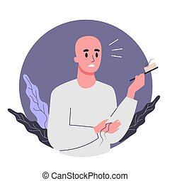 Side effects of chemotherapy concept. Patient suffer from cancer disease. Male character suffering from hair loss. Vector illustration in cartoon style