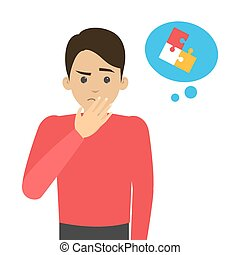 Side effect of chemotherapy. Patient suffer from cancer disease. Chemo brain symptom. Vector illustration in cartoon style