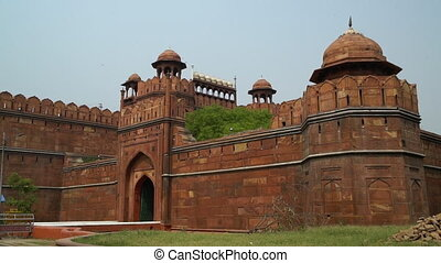 Side entrance of the Red Fort (Lal Qila). - Birds fly over...