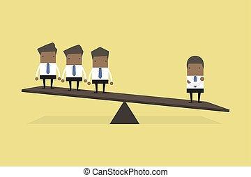 side., escala, pesar, muchos, ejecutivos, uno, otro, africano, hombre de negocios, heavier, que, lado