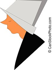 Side face of a female Christian missionary or nun vector...