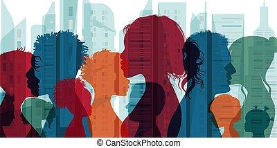 side., família, silueta, pessoas, grupo, community., diferente, conexão, society., cultura, multiethnic, multicultural, multidão., diversidade, população, comunicação