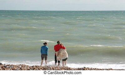 side., ficar, andar, primeiro plano., brighton., par, gaivotas, jovem, costa, reino unido, atlântico, ocean., menina, lado, amigo, abraçando
