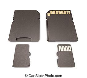 side., fondo, adaptador, micro, cima, tarjeta, sd