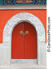Side hall doorway in the Zhengjue temple in Old summer...