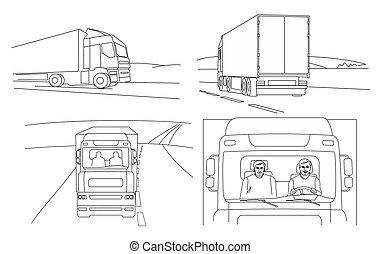 side., isolé, dos, vecteur, camion, driver., devant