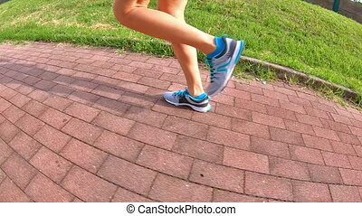 side jogging legs - SLOW MOTION side running gym shoes...