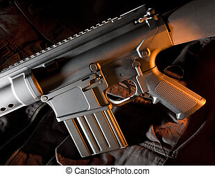 Side lit assault rifle with orange - AR-style assault rifle...