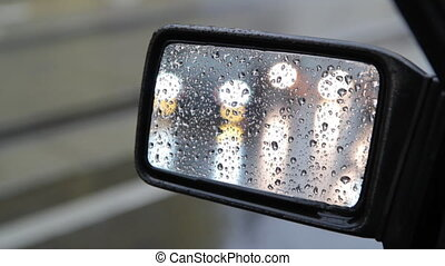 Side mirror. 2 of 2. - View of traffic in side mirror on a...
