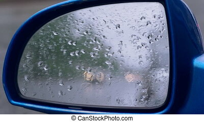 Side mirror with sound of rain.