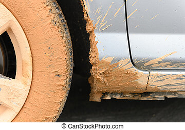 side of a muddy car close up