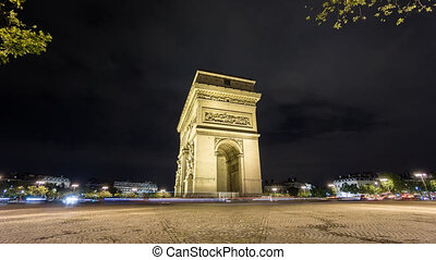 Side of Arc de Triomphe at night Time-Lapse - Wide angle...