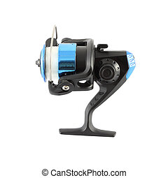 Side of blue fishing reel with line on white background.