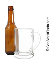 Side of bottle and glass on white background.