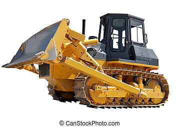 Side Of Bulldozer over white - Side Of Bulldozer with raised...