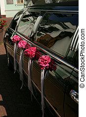 Black wedding car limousine