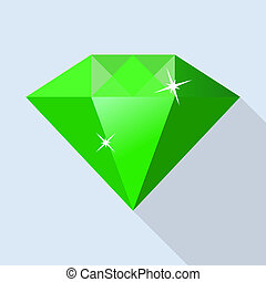 Side of emerald icon, flat style