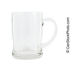 Side of empty glass with handle on white background.
